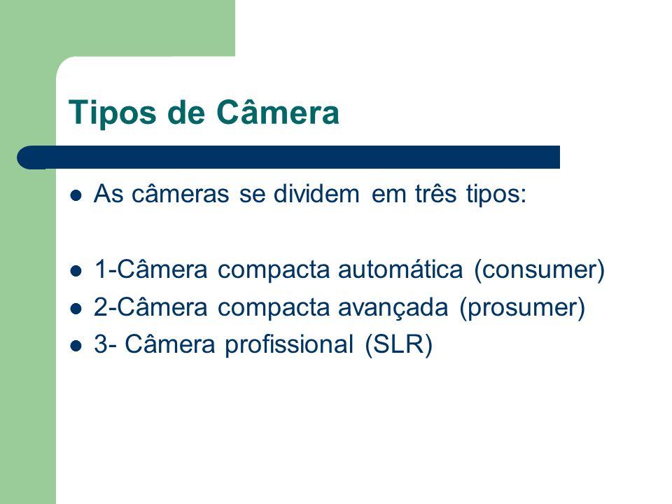 Tipos de Câmera As câmeras se dividem em três tipos: 1-Câmera compacta automática (consumer) 2-Câmera compacta avançada (prosumer) 3- Câmera profissio