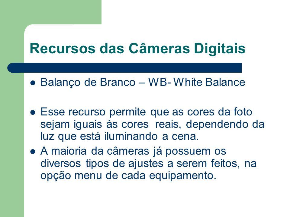 Recursos das Câmeras Digitais Balanço de Branco – WB- White Balance Esse recurso permite que as cores da foto sejam iguais às cores reais, dependendo