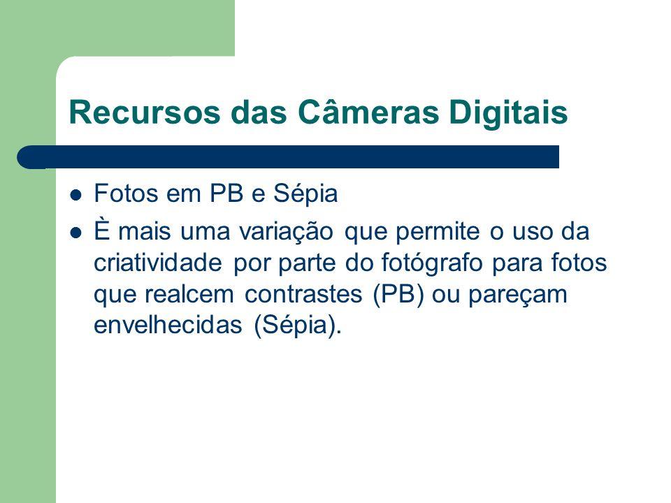 Recursos das Câmeras Digitais Fotos em PB e Sépia È mais uma variação que permite o uso da criatividade por parte do fotógrafo para fotos que realcem