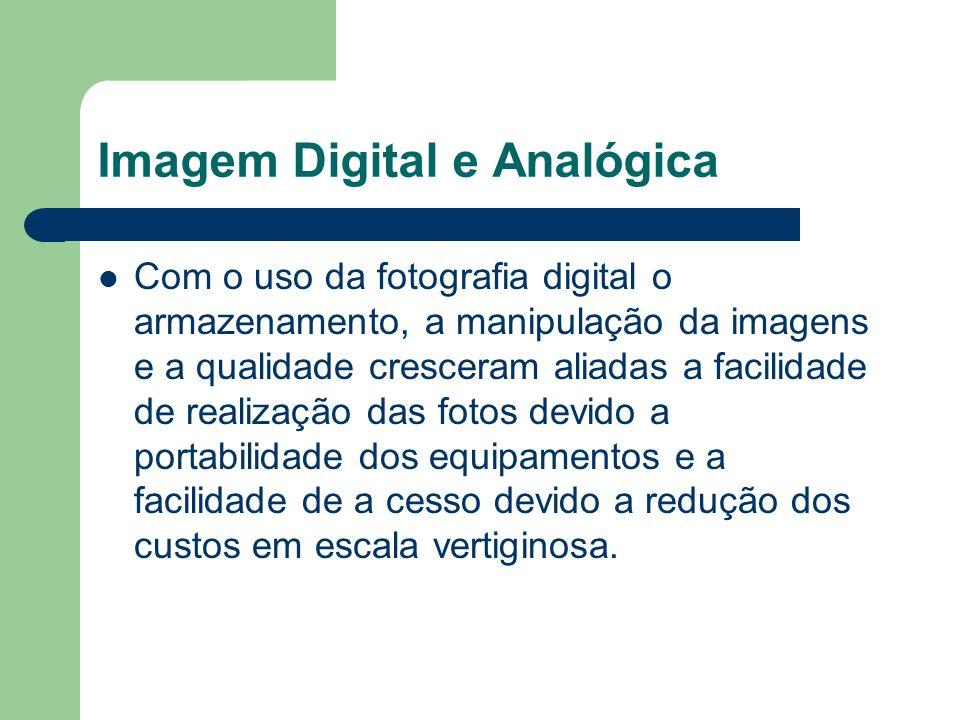Imagem Digital e Analógica Com o uso da fotografia digital o armazenamento, a manipulação da imagens e a qualidade cresceram aliadas a facilidade de r