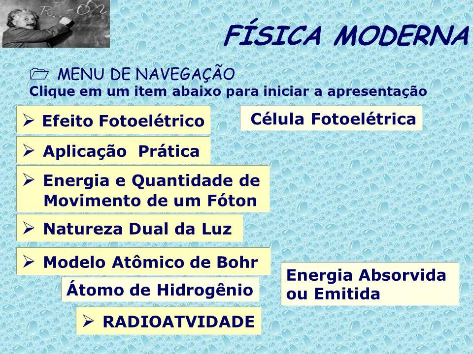 Efeito Fotoelétrico FÍSICA MODERNA MENU DE NAVEGAÇÃO Clique em um item abaixo para iniciar a apresentação Aplicação Prática Energia e Quantidade de Mo