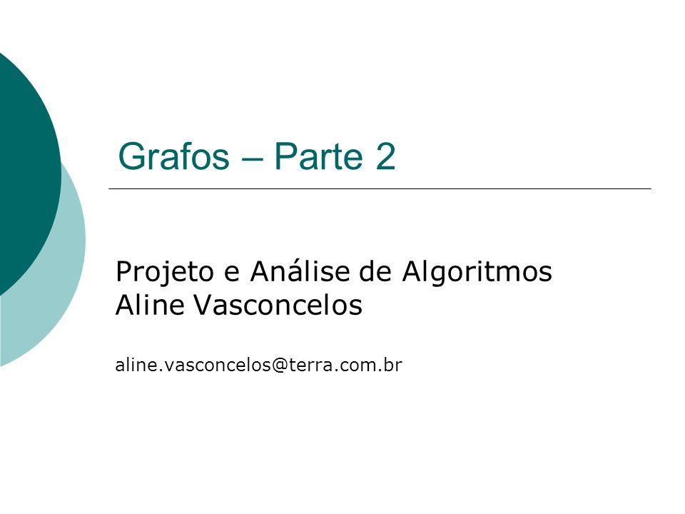 Grafos – Parte 2 Projeto e Análise de Algoritmos Aline Vasconcelos aline.vasconcelos@terra.com.br