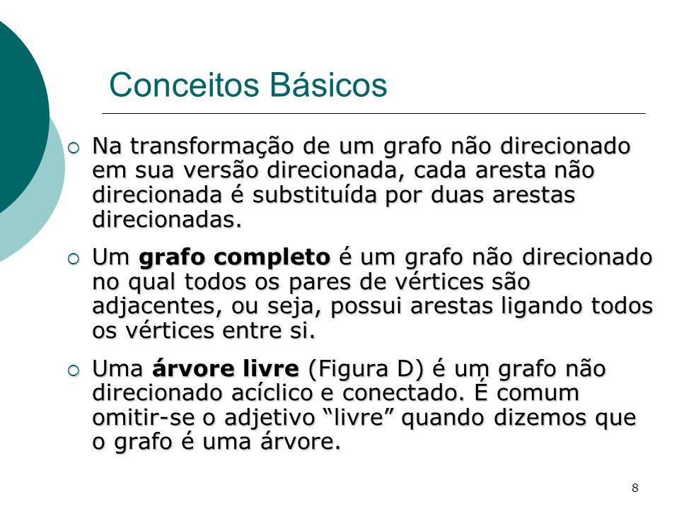 8 Conceitos Básicos Na transformação de um grafo não direcionado em sua versão direcionada, cada aresta não direcionada é substituída por duas arestas