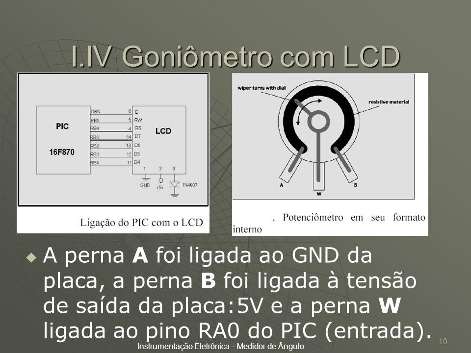10 I.IV Goniômetro com LCD A perna A foi ligada ao GND da placa, a perna B foi ligada à tensão de saída da placa:5V e a perna W ligada ao pino RA0 do