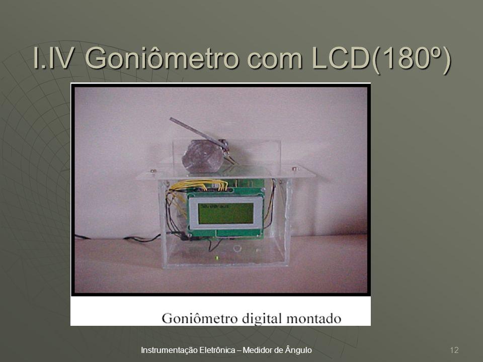12 I.IV Goniômetro com LCD(180º) Instrumentação Eletrônica – Medidor de Ângulo