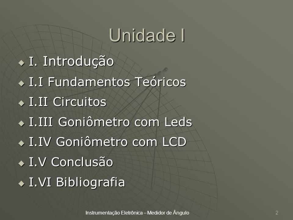 Unidade I I. Introdução I. Introdução I.I Fundamentos Teóricos I.I Fundamentos Teóricos I.II Circuitos I.II Circuitos I.III Goniômetro com Leds I.III