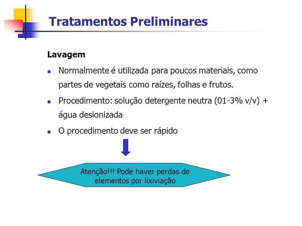 Tratamentos Preliminares Lavagem Normalmente é utilizada para poucos materiais, como partes de vegetais como raízes, folhas e frutos. Procedimento: so