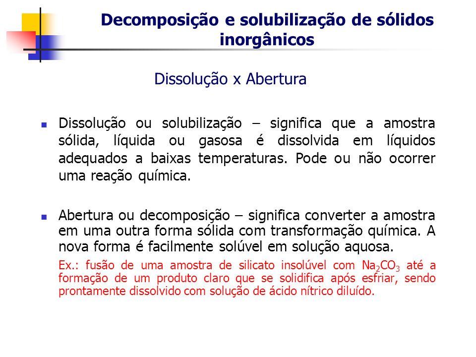 Decomposição e solubilização de sólidos inorgânicos Abertura ou decomposição – significa converter a amostra em uma outra forma sólida com transformaç