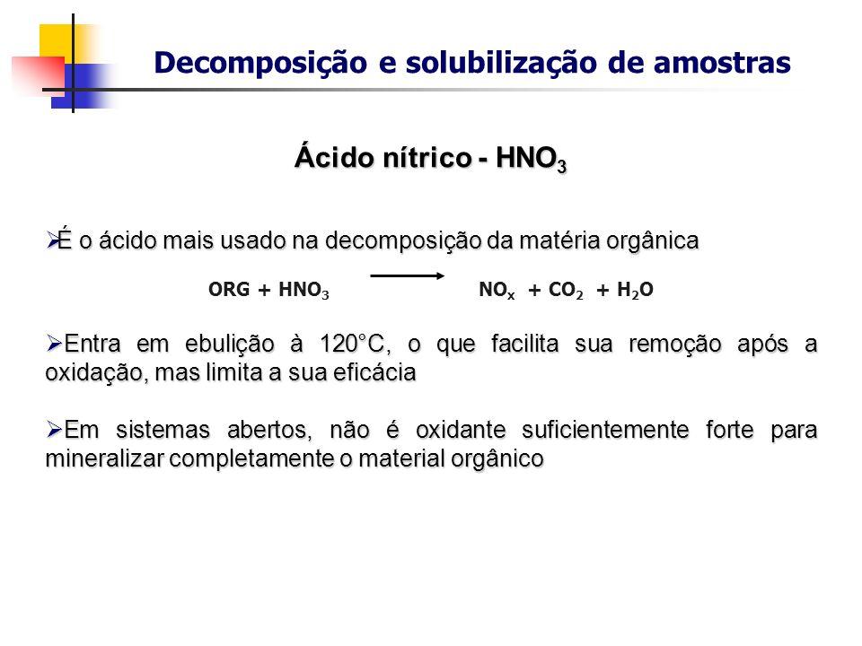 Decomposição e solubilização de amostras Ácido nítrico - HNO 3 É o ácido mais usado na decomposição da matéria orgânica É o ácido mais usado na decomp