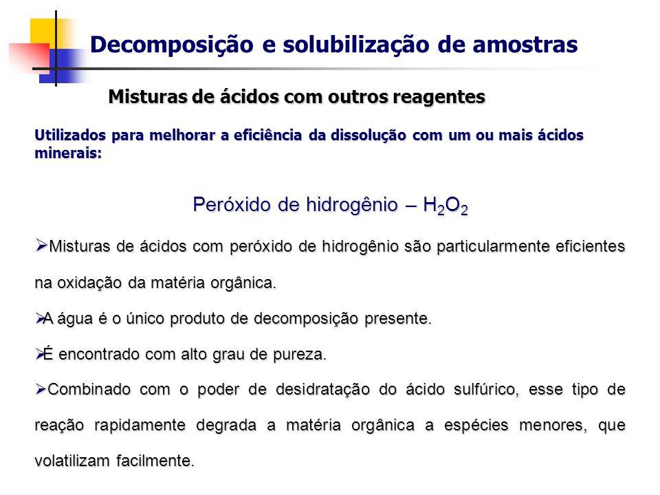 Decomposição e solubilização de amostras Utilizados para melhorar a eficiência da dissolução com um ou mais ácidos minerais: Agentes oxidantes: Agente
