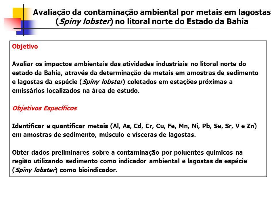 Objetivo Avaliar os impactos ambientais das atividades industriais no litoral norte do estado da Bahia, através da determinação de metais em amostras