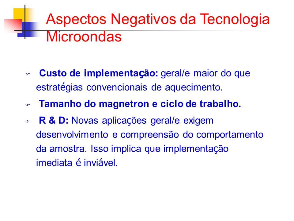 Aspectos Negativos da Tecnologia Microondas Custo de implementa ç ão: geral/e maior do que estrat é gias convencionais de aquecimento. Tamanho do magn