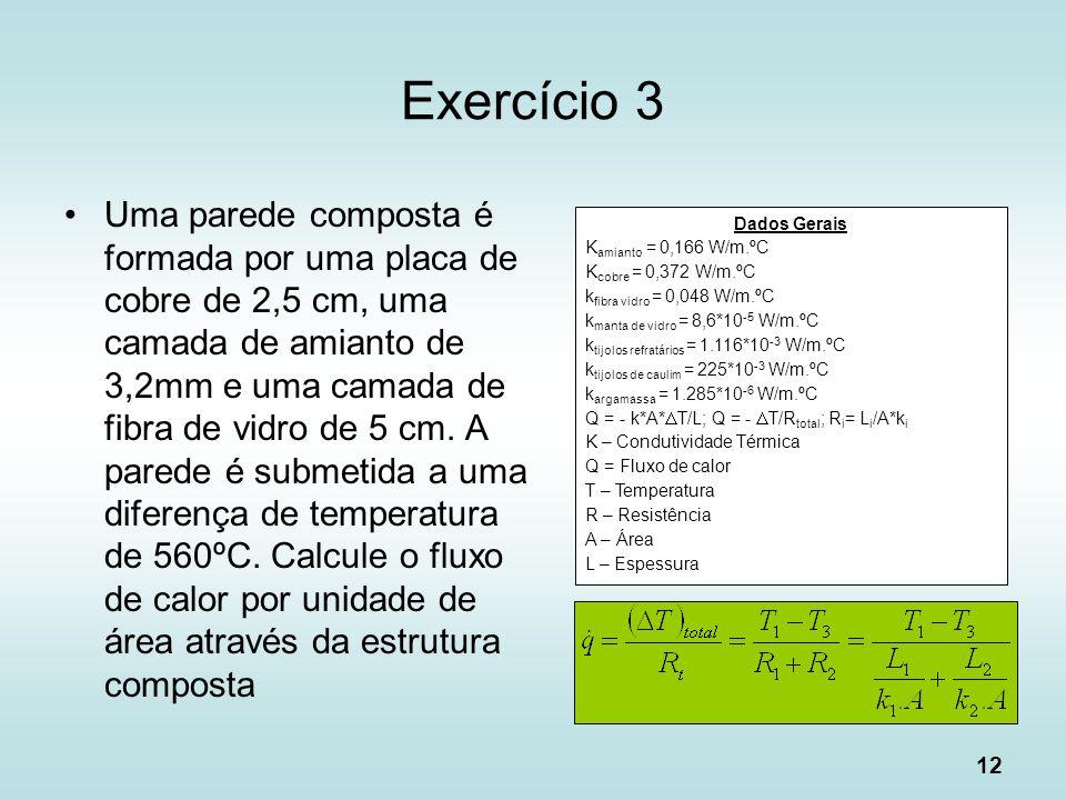 12 Exercício 3 Uma parede composta é formada por uma placa de cobre de 2,5 cm, uma camada de amianto de 3,2mm e uma camada de fibra de vidro de 5 cm.