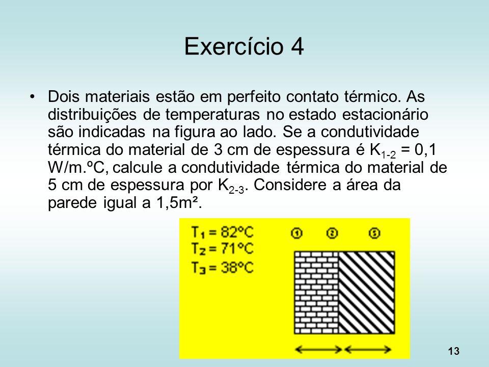 13 Exercício 4 Dois materiais estão em perfeito contato térmico. As distribuições de temperaturas no estado estacionário são indicadas na figura ao la