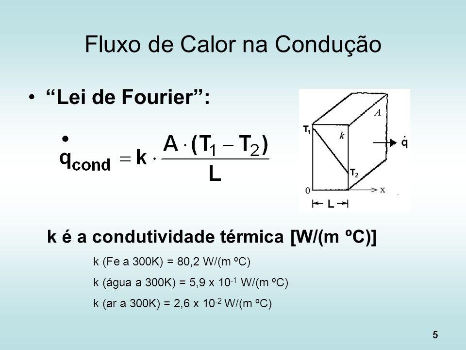 5 Fluxo de Calor na Condução Lei de Fourier: k é a condutividade térmica [W/(m ºC)] k (Fe a 300K) = 80,2 W/(m ºC) k (água a 300K) = 5,9 x 10 -1 W/(m º