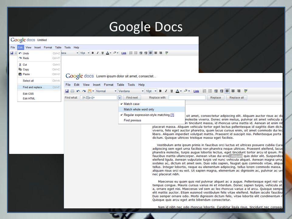 Editores de texto (Google docs e vim) Google Docs