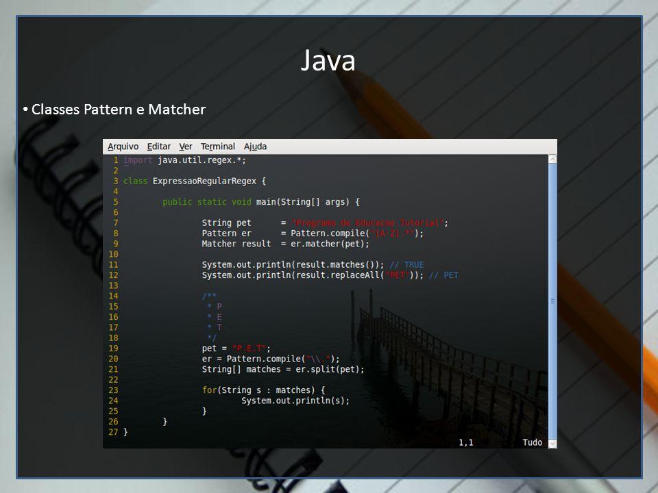 Editores de texto (Google docs e vim) Java Classes Pattern e Matcher