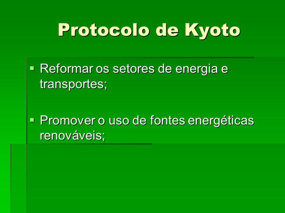 Protocolo de Kyoto Protocolo de Kyoto Reformar os setores de energia e transportes; Reformar os setores de energia e transportes; Promover o uso de fo