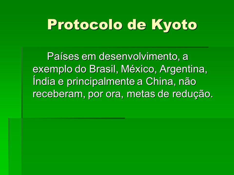 Protocolo de Kyoto Protocolo de Kyoto Países em desenvolvimento, a exemplo do Brasil, México, Argentina, Índia e principalmente a China, não receberam