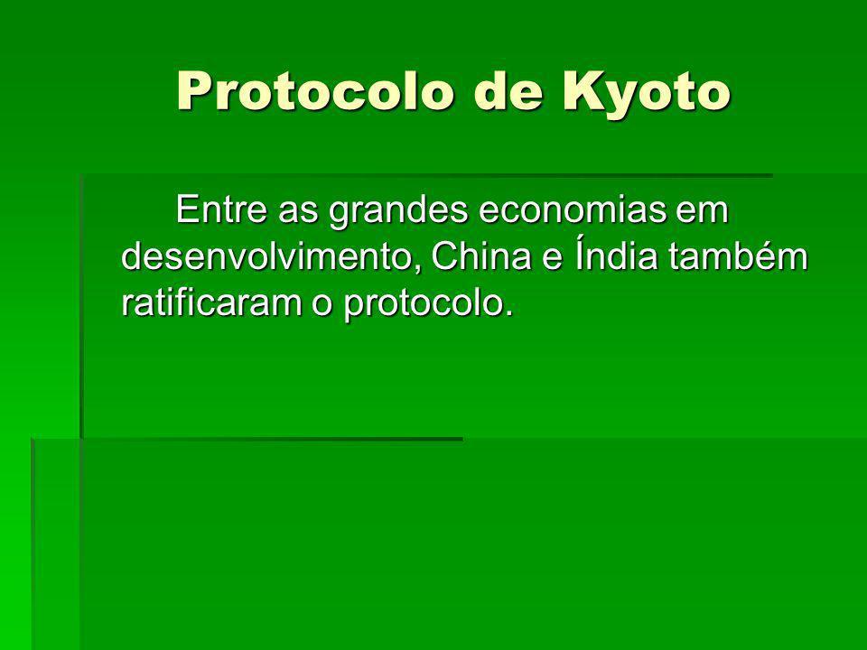 Protocolo de Kyoto Protocolo de Kyoto Entre as grandes economias em desenvolvimento, China e Índia também ratificaram o protocolo.