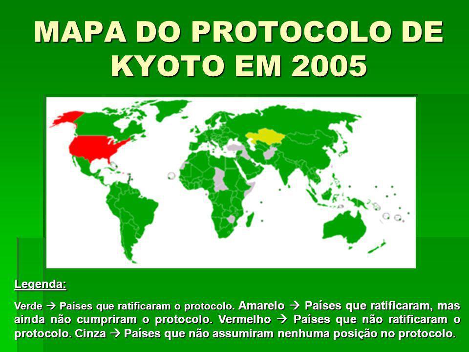 MAPA DO PROTOCOLO DE KYOTO EM 2005 Legenda: Verde Países que ratificaram o protocolo. Amarelo Países que ratificaram, mas ainda não cumpriram o protoc