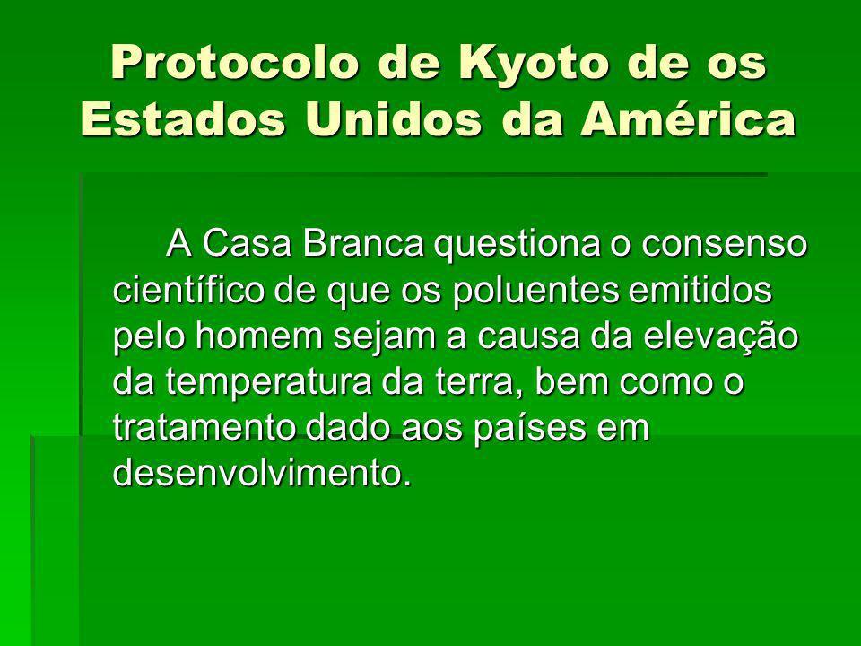 Protocolo de Kyoto de os Estados Unidos da América A Casa Branca questiona o consenso científico de que os poluentes emitidos pelo homem sejam a causa