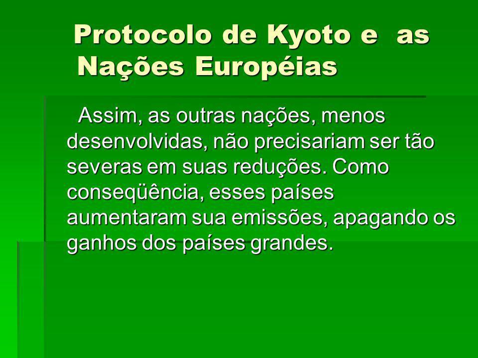 Protocolo de Kyoto e as Nações Européias Protocolo de Kyoto e as Nações Européias Assim, as outras nações, menos desenvolvidas, não precisariam ser tã