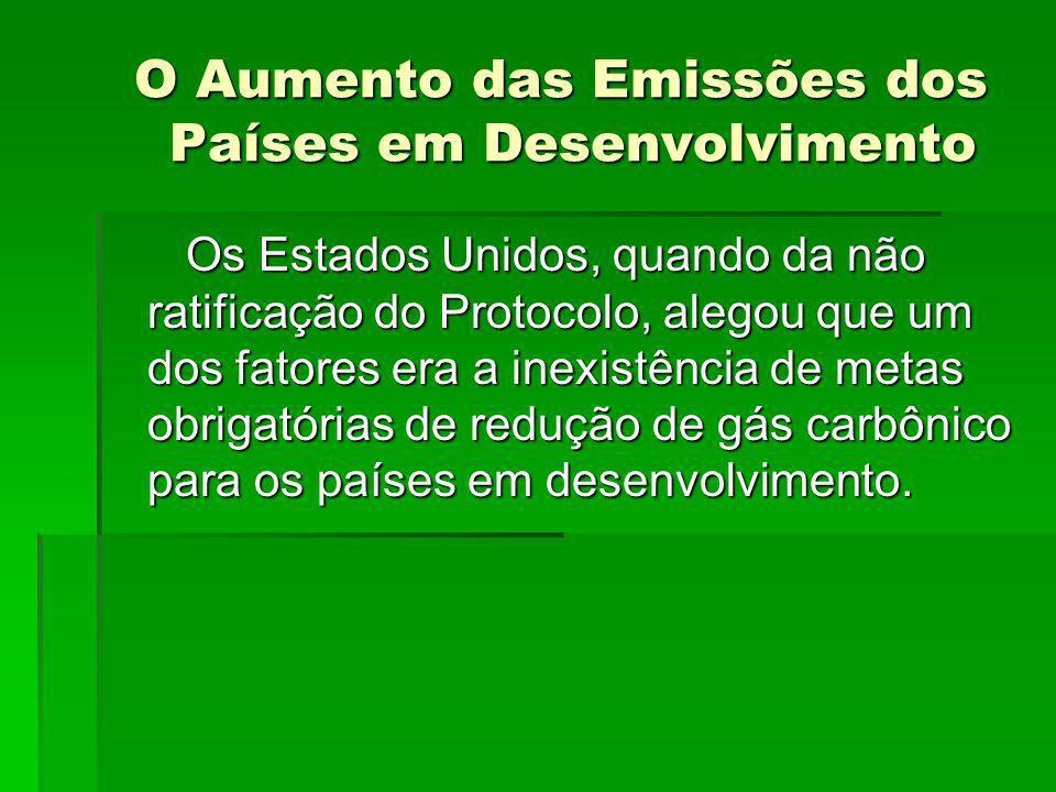 O Aumento das Emissões dos Países em Desenvolvimento O Aumento das Emissões dos Países em Desenvolvimento Os Estados Unidos, quando da não ratificação