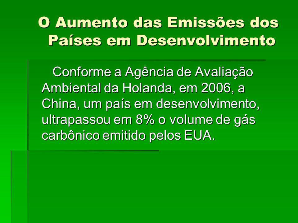 O Aumento das Emissões dos Países em Desenvolvimento O Aumento das Emissões dos Países em Desenvolvimento Conforme a Agência de Avaliação Ambiental da