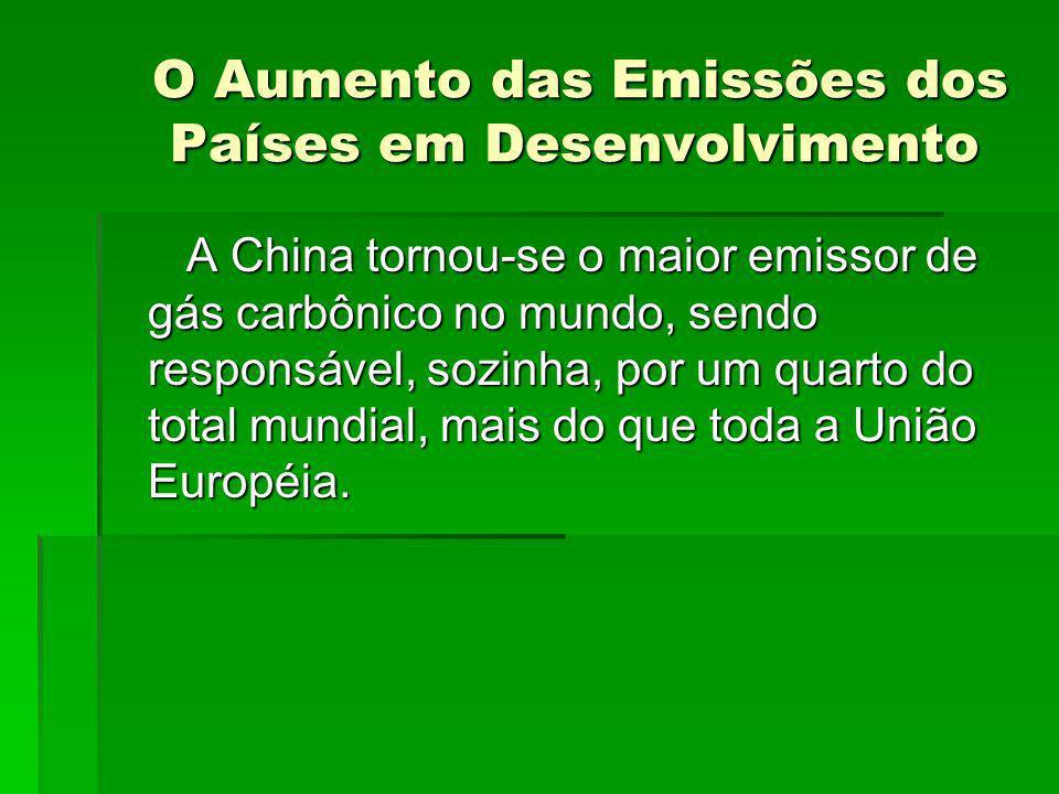 O Aumento das Emissões dos Países em Desenvolvimento O Aumento das Emissões dos Países em Desenvolvimento A China tornou-se o maior emissor de gás car