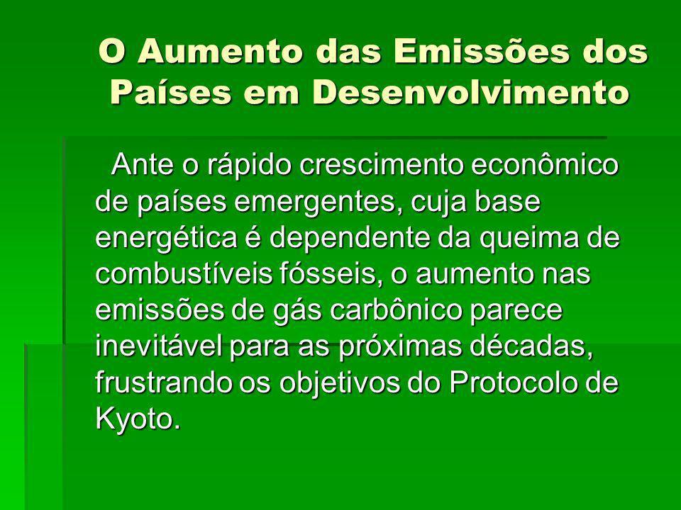 O Aumento das Emissões dos Países em Desenvolvimento O Aumento das Emissões dos Países em Desenvolvimento Ante o rápido crescimento econômico de paíse