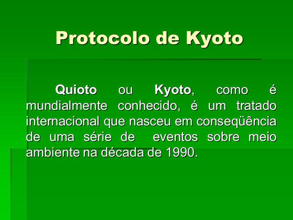 Protocolo de Kyoto Quioto ou Kyoto, como é mundialmente conhecido, é um tratado internacional que nasceu em conseqüência de uma série de eventos sobre