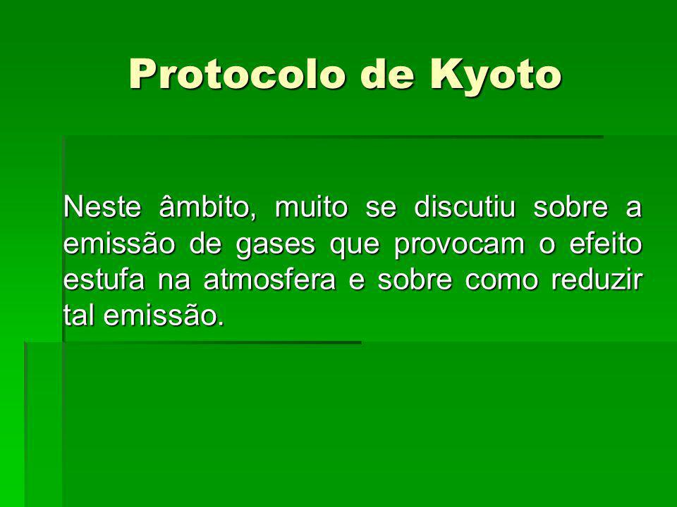 Neste âmbito, muito se discutiu sobre a emissão de gases que provocam o efeito estufa na atmosfera e sobre como reduzir tal emissão. Protocolo de Kyot