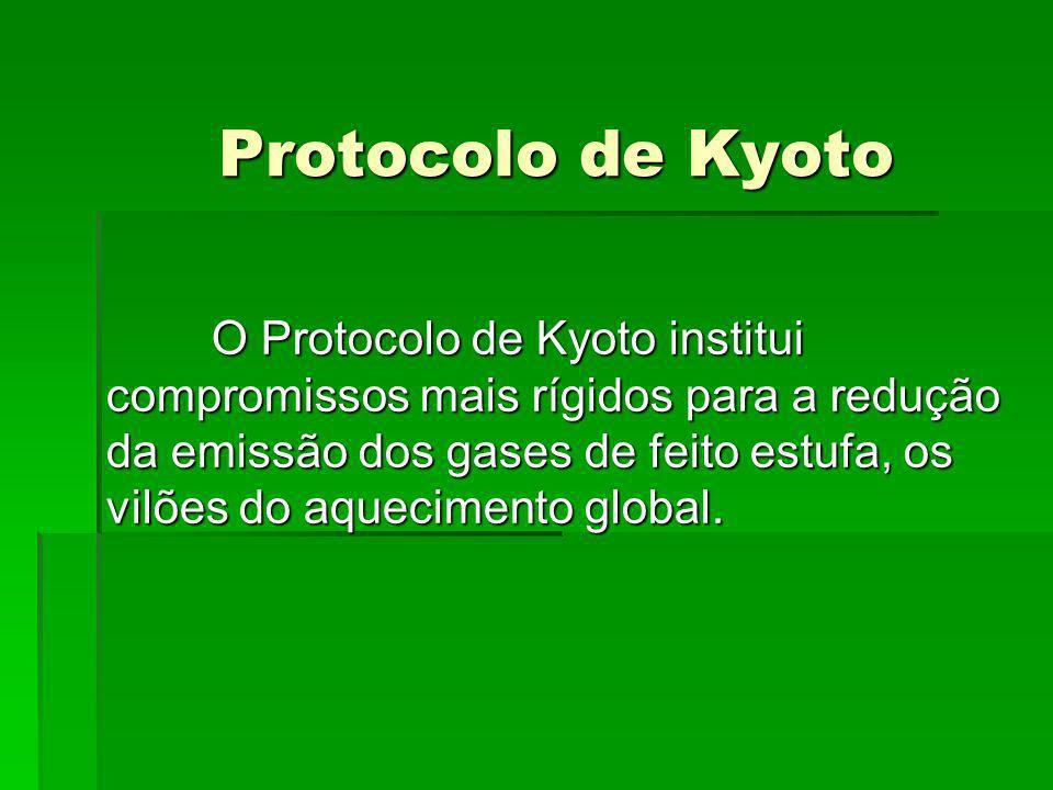 Protocolo de Kyoto Estabelece um calendário pelo qual os Países - membros tem a obrigação de reduzir a emissão de gases poluentes em, pelo menos, 5,2% em relação aos níveis de 1990, no período entre 2008 e 2012.