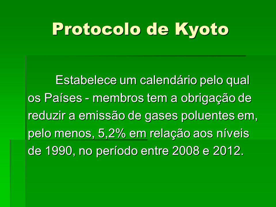 Protocolo de Kyoto Estabelece um calendário pelo qual os Países - membros tem a obrigação de reduzir a emissão de gases poluentes em, pelo menos, 5,2%