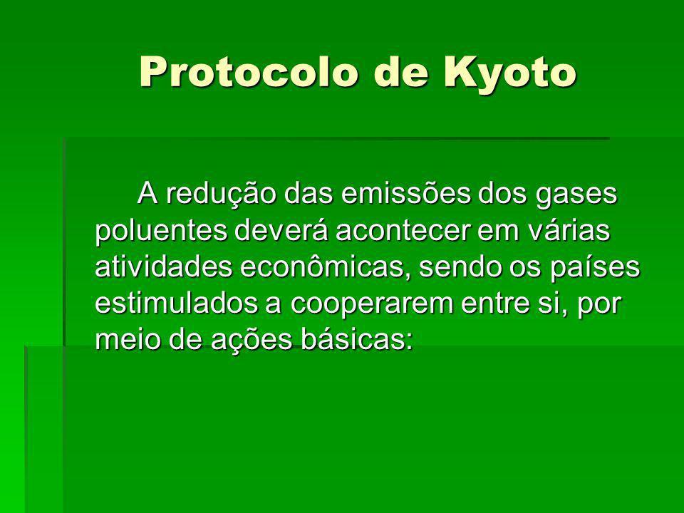 Protocolo de Kyoto Protocolo de Kyoto A redução das emissões dos gases poluentes deverá acontecer em várias atividades econômicas, sendo os países est