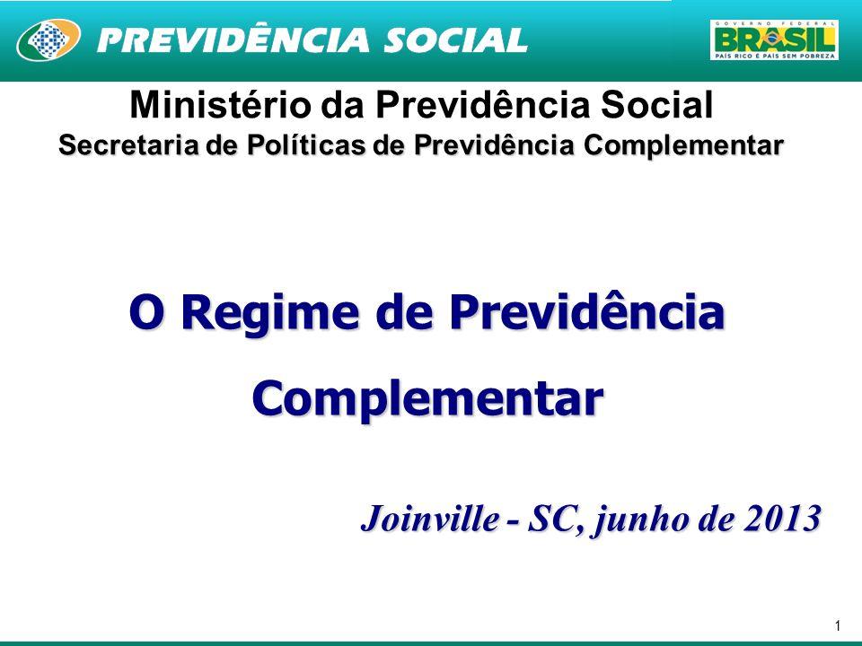 1 Ministério da Previdência Social Secretaria de Políticas de Previdência Complementar O Regime de Previdência Complementar Joinville - SC, junho de 2