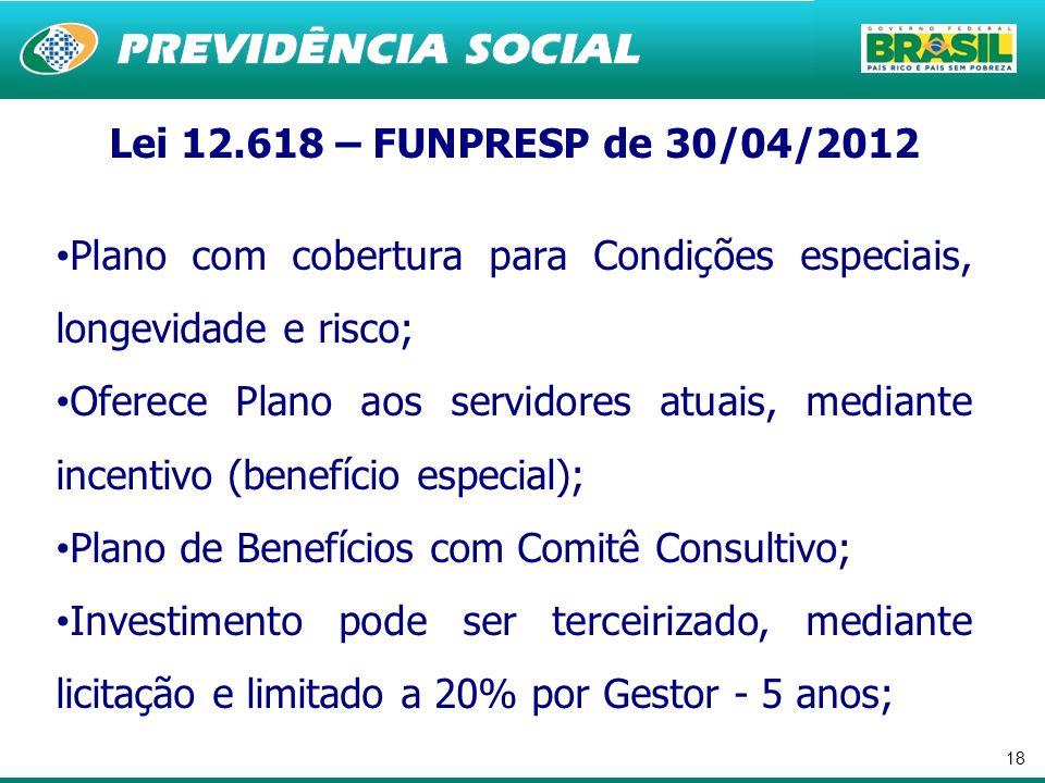18 Lei 12.618 – FUNPRESP de 30/04/2012 Plano com cobertura para Condições especiais, longevidade e risco; Oferece Plano aos servidores atuais, mediant