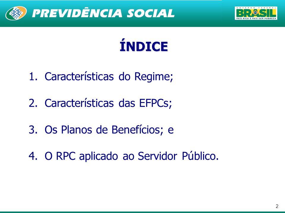 2 1.Características do Regime; 2.Características das EFPCs; 3.Os Planos de Benefícios; e 4.O RPC aplicado ao Servidor Público. ÍNDICE