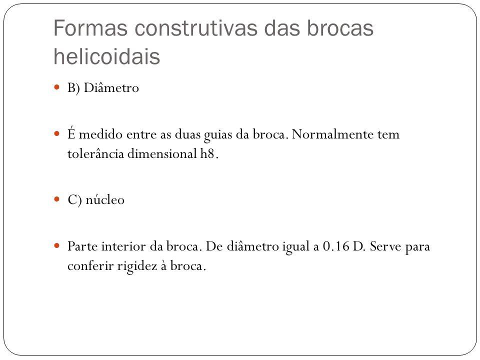 Formas construtivas das brocas helicoidais B) Diâmetro É medido entre as duas guias da broca. Normalmente tem tolerância dimensional h8. C) núcleo Par