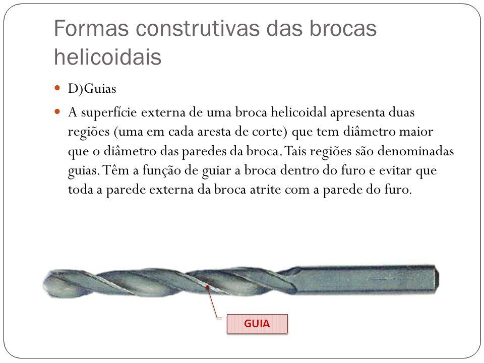 Formas construtivas das brocas helicoidais D)Guias A superfície externa de uma broca helicoidal apresenta duas regiões (uma em cada aresta de corte) q