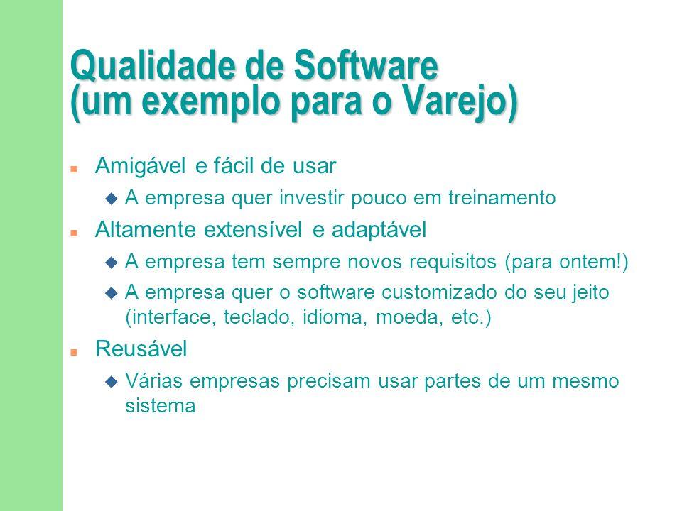 Qualidade de Software (um exemplo para o Varejo) Correto A loja não pode deixar de cobrar por produtos comprados pelo consumidor Robusto e altamente d