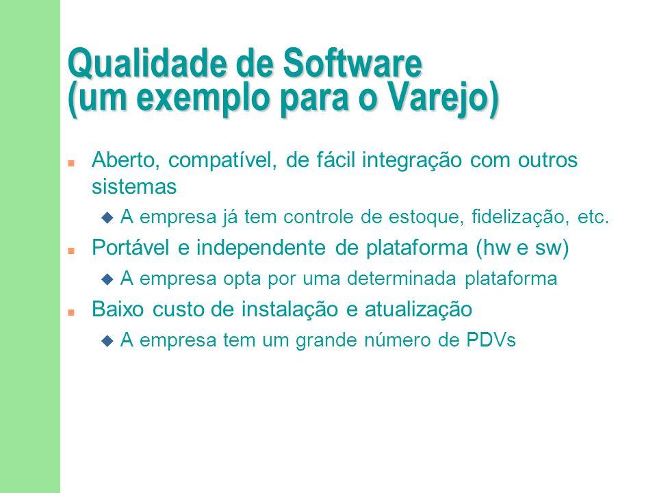 Qualidade de Software (um exemplo para o Varejo) Amigável e fácil de usar A empresa quer investir pouco em treinamento Altamente extensível e adaptáve