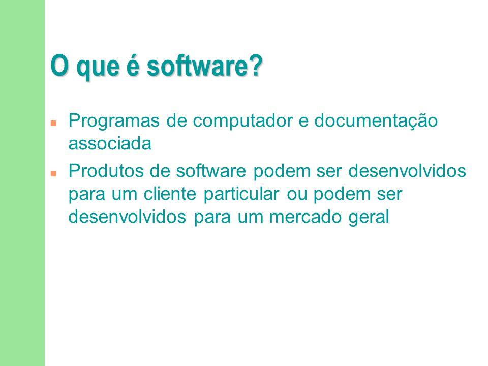 O que é a Engenharia de Software? Estudo ou aplicação de abordagens sistemáticas, econômicas e quantificáveis para o desenvolvimento, operação e manut