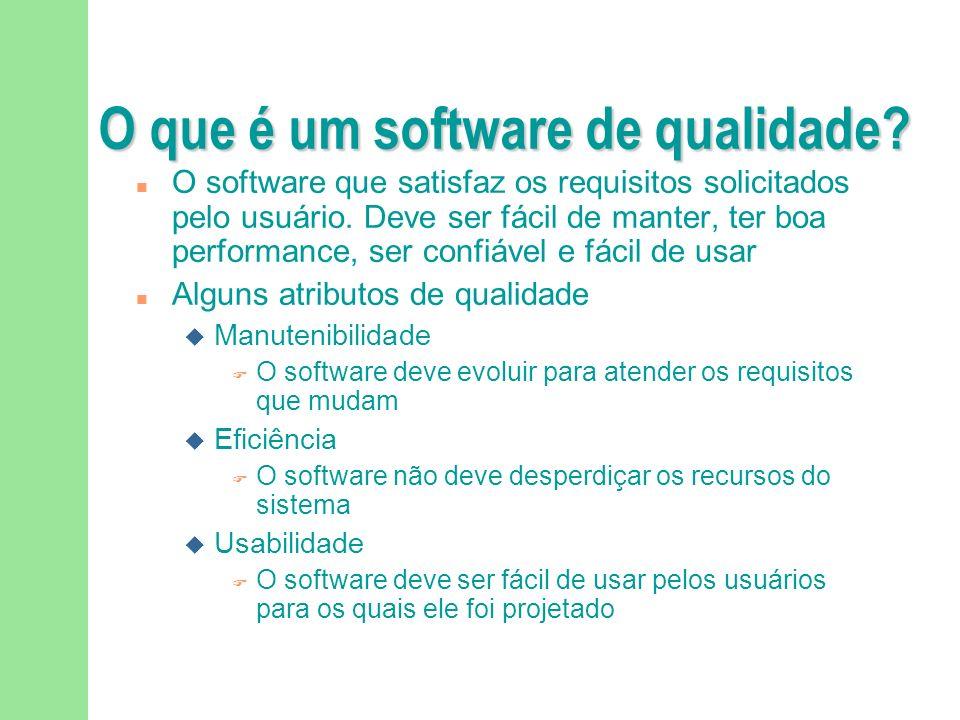 O que é um software de qualidade.O software que satisfaz os requisitos solicitados pelo usuário.