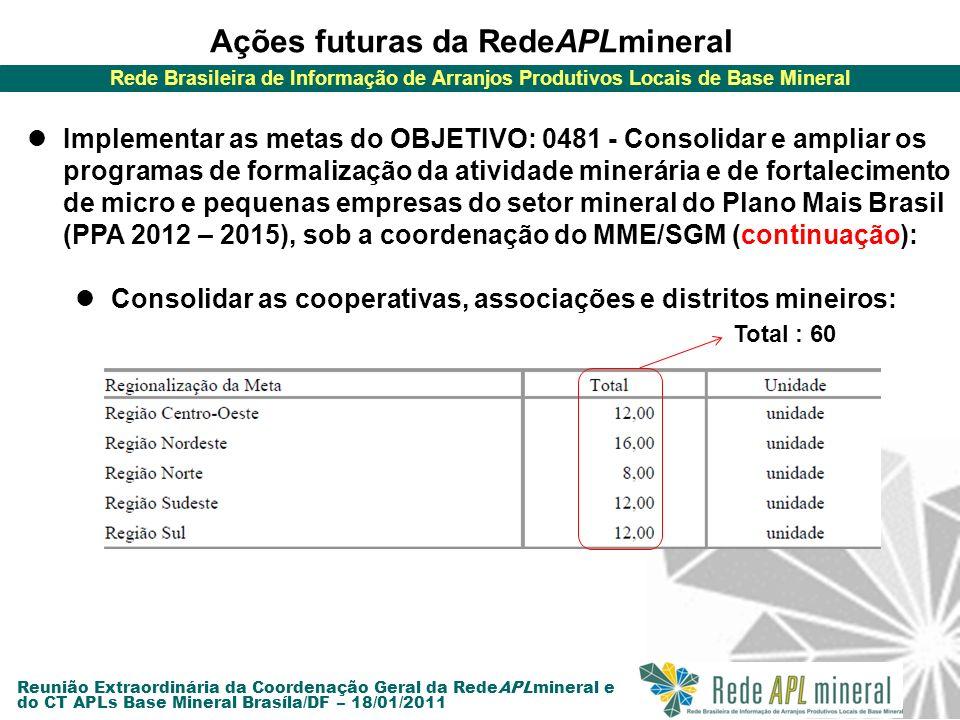 Rede Brasileira de Informação de Arranjos Produtivos Locais de Base Mineral Reunião Extraordinária da Coordenação Geral da RedeAPLmineral e do CT APLs