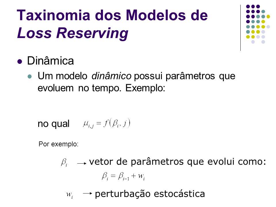 Taxinomia dos Modelos de Loss Reserving Dinâmica Um modelo dinâmico possui parâmetros que evoluem no tempo. Exemplo: no qual vetor de parâmetros que e