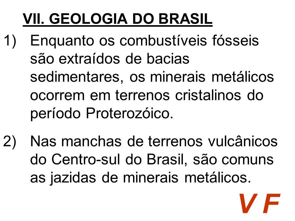 1)Enquanto os combustíveis fósseis são extraídos de bacias sedimentares, os minerais metálicos ocorrem em terrenos cristalinos do período Proterozóico