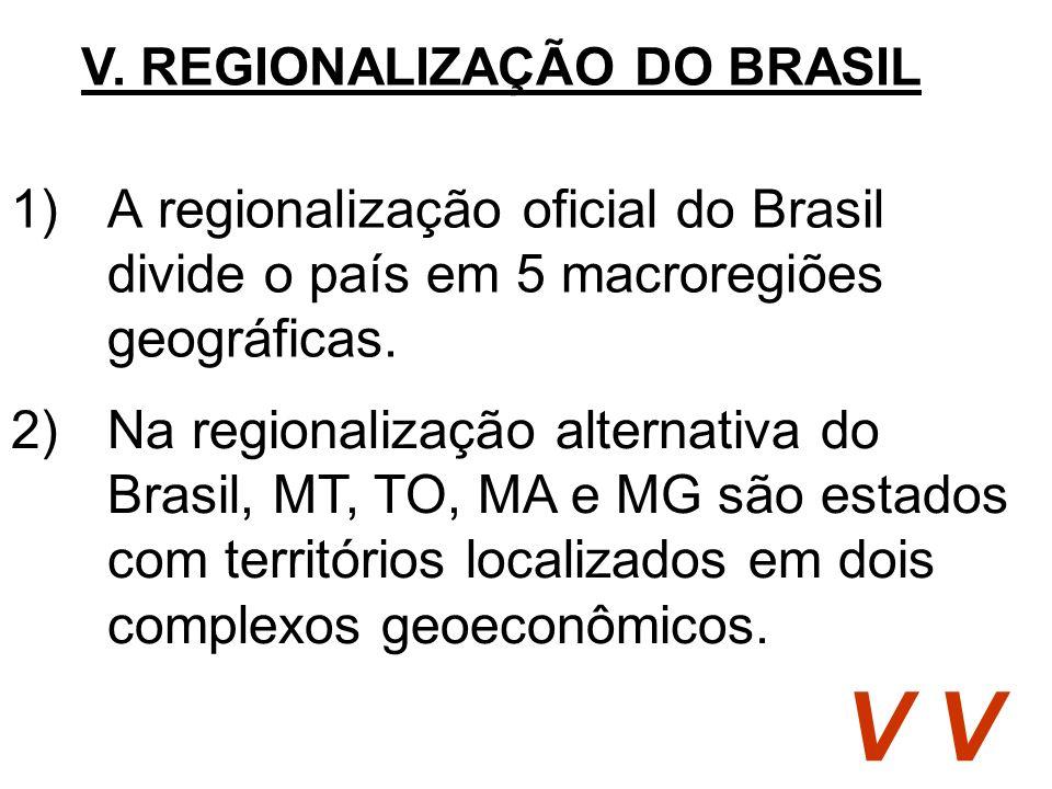 1)A regionalização oficial do Brasil divide o país em 5 macroregiões geográficas. V. REGIONALIZAÇÃO DO BRASIL V 2)Na regionalização alternativa do Bra