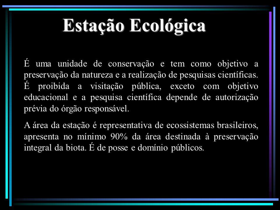 Estação Ecológica É uma unidade de conservação e tem como objetivo a preservação da natureza e a realização de pesquisas científicas. É proibida a vis